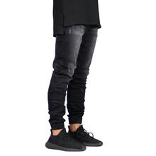 De moda elástico hombres, Jeans Denim Jogger diseño Hip Hop camisetas para hombres Y5036(China)