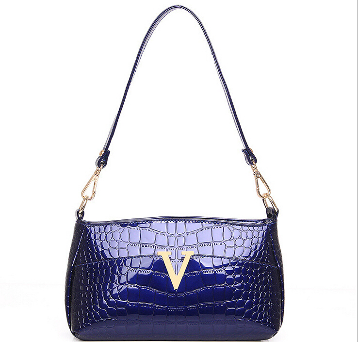 Womens Handbags women patent leather solid color blue shoulder bags woman fashion bags new business dress handbags(China (Mainland))