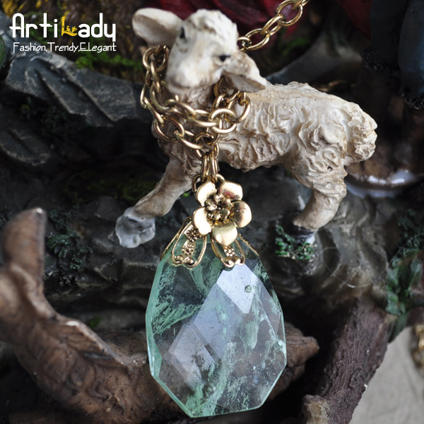 Artilady natural stone pendent necklace flowers fashion the natural watermelon green stone necklace(China (Mainland))