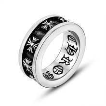 Titanium Stainless Steel Rings Vintage Punk Gothic Symbol Black Rings Cross Rings For Men and Women anillos para los hombres