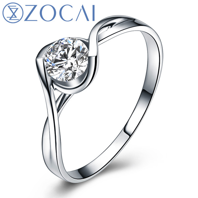 ZOCAI BRAND TILTING THE WORLD KISS 0.26 CT CERTIFIED I-J/SI DIAMOND ENGAGEMENT RING ROUND CUT 18K WHITE GOLD  W02572