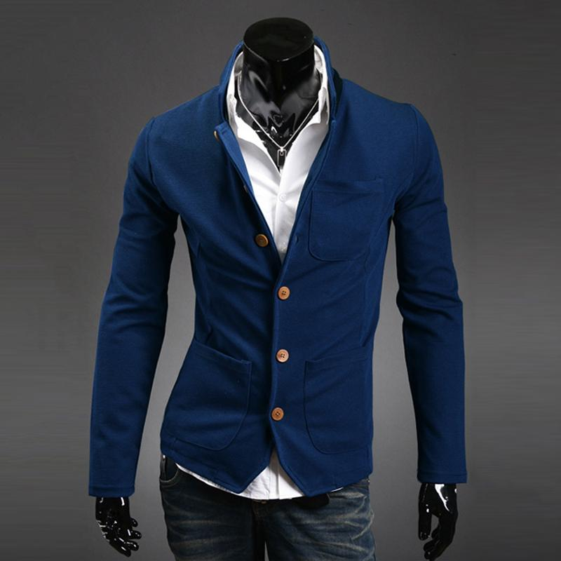 2015 New Arrival Designs Slim Fit Blazer Coat Men Stand Collar Suit Jacket Mens Casual Royal Blue Blazers Terno Masculino 7M0028