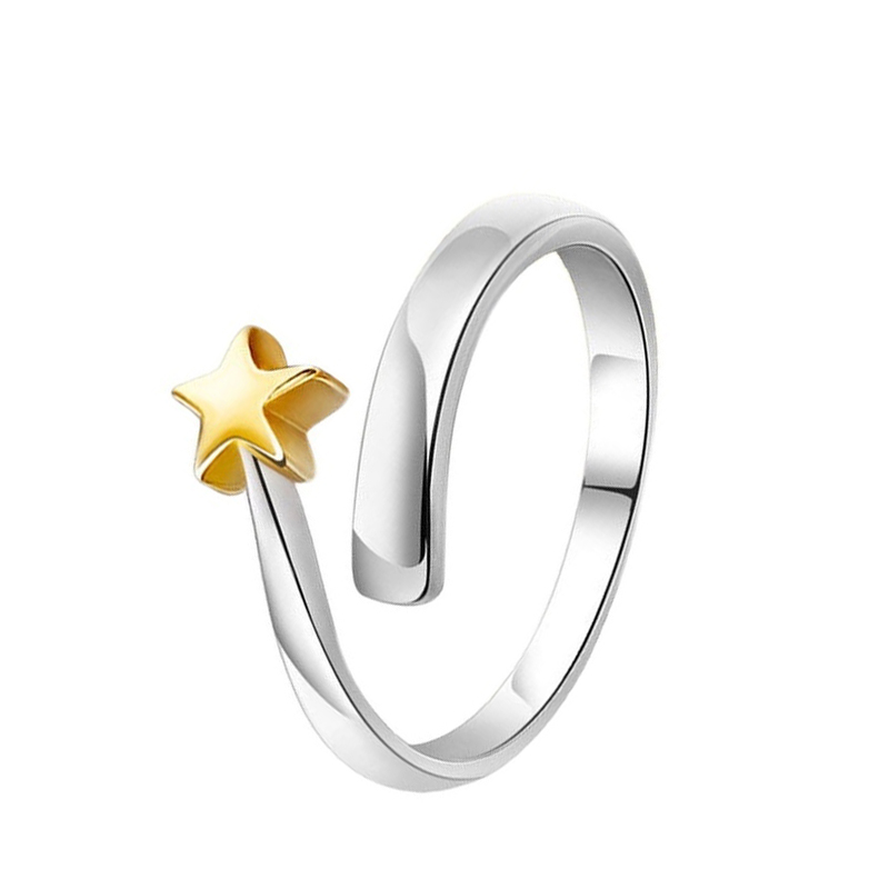 2016 New Fashion Universal Silver Gold Star Opening Adjustable Couple Rings Gifts 4 Pcs Free Shipping(China (Mainland))