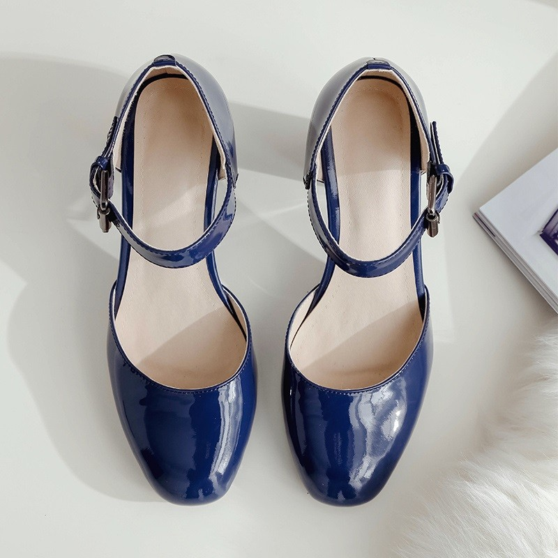Thick with pumps shoes 2016 Latest Comfortable Natural leather Patent Leather Square Toe Blue Red British style Hot New Products