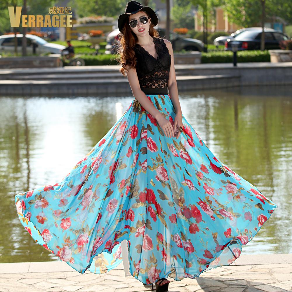 Long Summer Skirts - Verragee Women Summer Skirt New Arrival Vintage Elegant Red Floral Print Blue Chiffon Skirts Slim