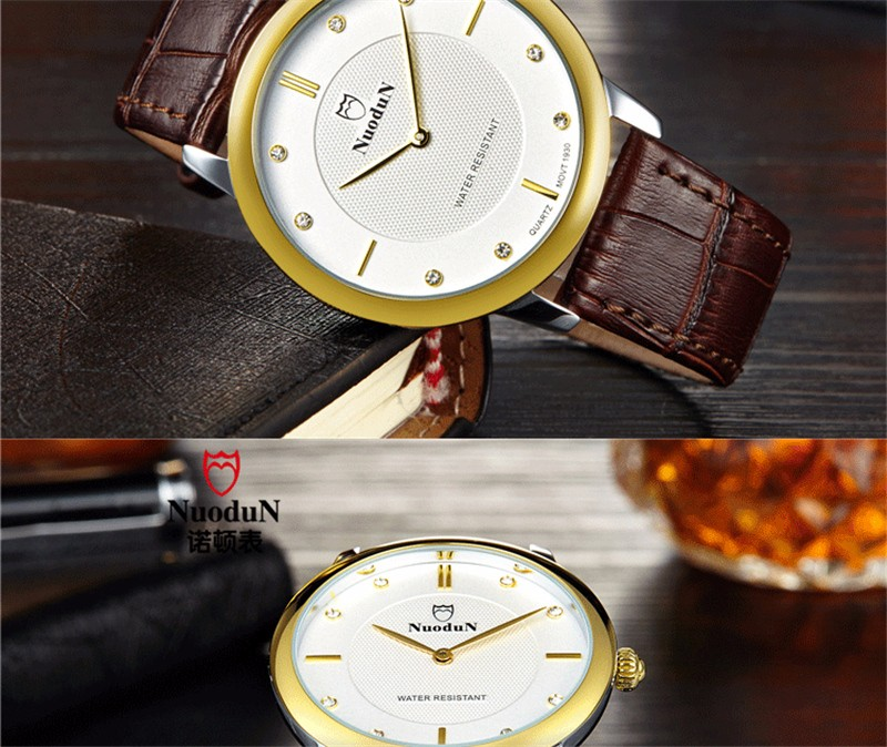 Nuodun Моды Случайные Кварцевые часы Кожаный Ремешок Женщины Водонепроницаемый Платье Бизнес Наручные Часы Для Женщин Женские Часы Лучший Бренд