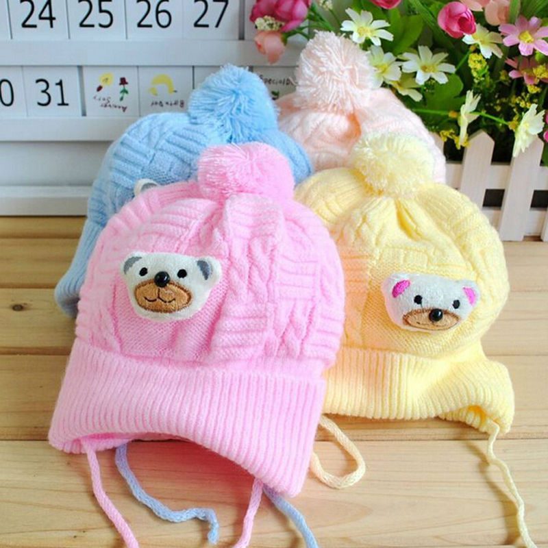 Hot Selling 1PCS Baby Boy Girl Infant Toddler Cute Soft Crochet Bear Hat Beanie Warm Newborn Cap(China (Mainland))
