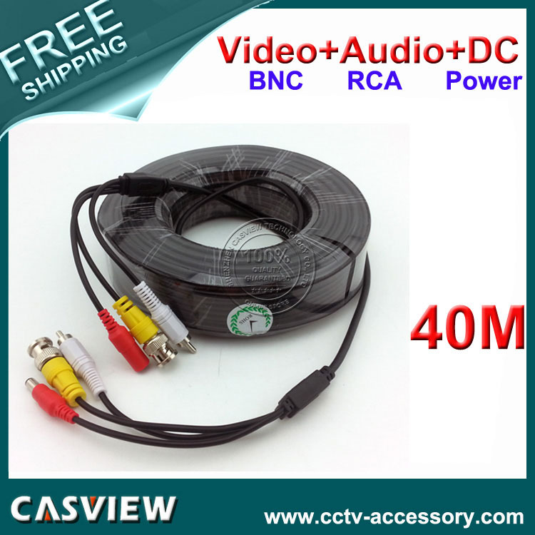Free shipping 1PCS 40M 132FT BNC Video DC Power RCA Audio All in one CCTV Camera DVR Security ExtensionCable(China (Mainland))