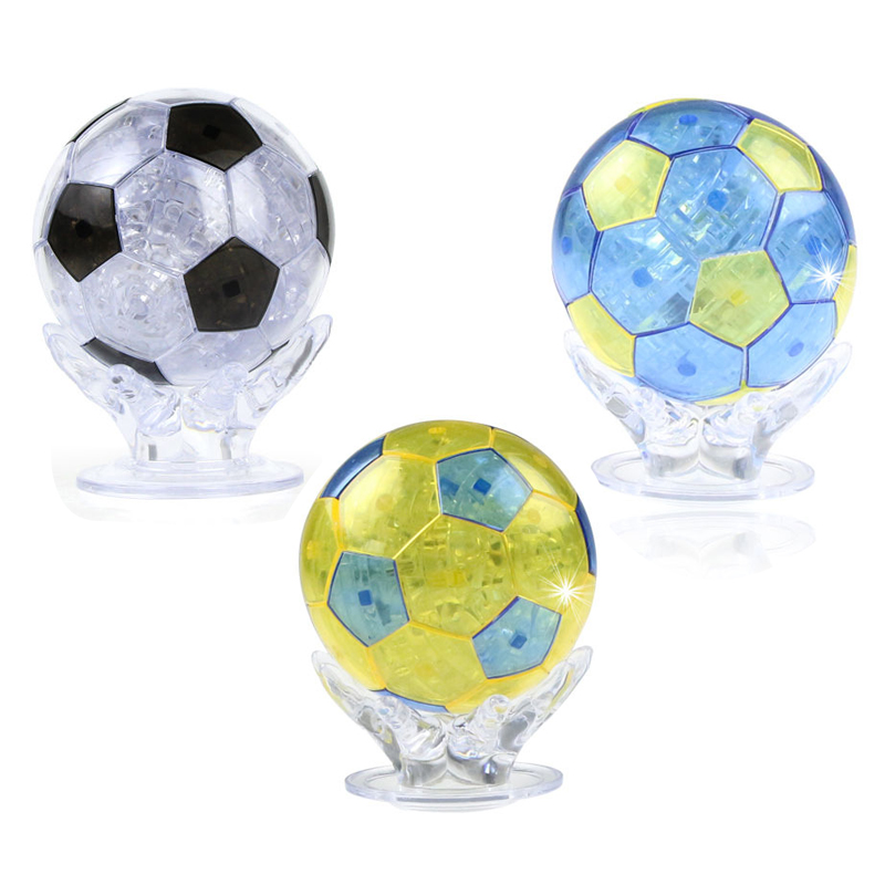 Coolplay CP9054A 2016 Newly design DIY Funny Football Jigsaw 3D Crystal Puzzles with Coloured lights 77pcs(China (Mainland))