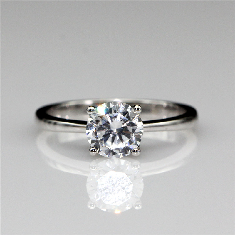 Round 1ct Lab Created Diamond Classic 4 Prongs 14k White Gold Engagement Ring Solitaire Esdomera Moissanites Wedding Ring(China (Mainland))