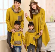 Family Hoodies Sweatshirts Fashion Striped Coats for children/couples Clothes for Daughter Son Mum Dad (Yellow/Blk color) CHH85(China (Mainland))