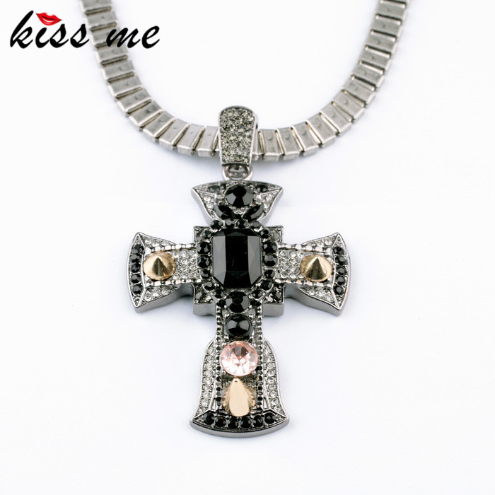 New Styles 2013 Fashion Jewelry Antique Vintage Black Cross Pendant Necklace