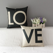 "Buy 1 Pair / 2 Pcs 18 X 18"" LO VE Love Printed Linen Pillowcase Throw Pillow Covers Cushion Case Couple Decorative Pillow Cases for $8.54 in AliExpress store"