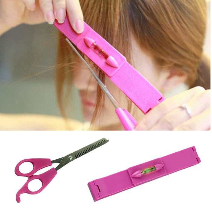 Delicate Pro Salon and Home Use Women DIY Hair Styling Tools Hairdressing Stainless Steel Hair Cutting Bangs Scissors with Ruler(China (Mainland))