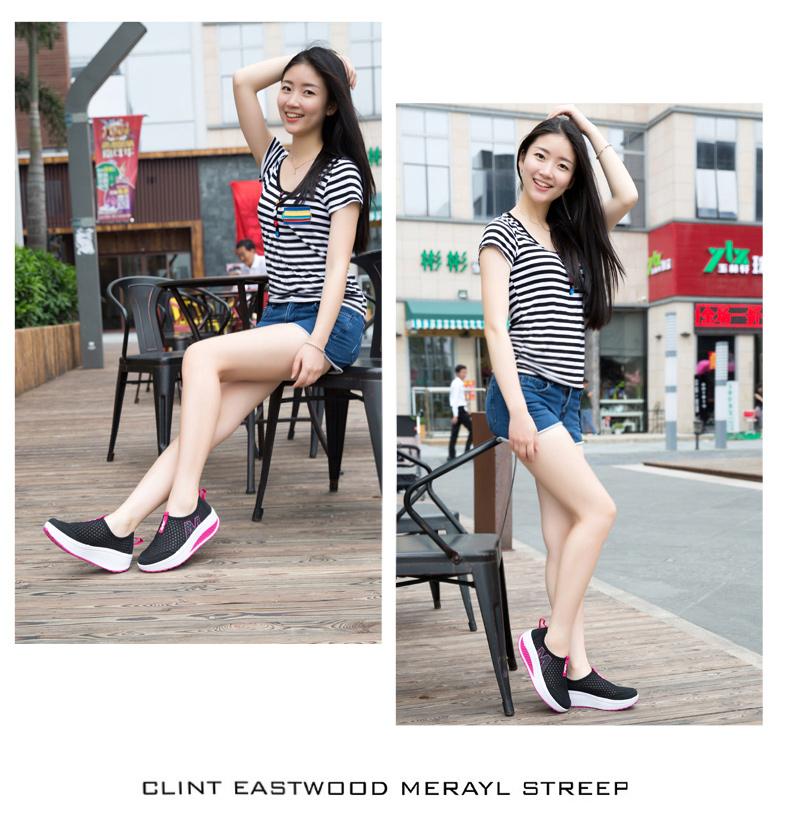 yeni 2016 yaz kadın rahat sallamak ayakkabı womam 5cm yüksek topuklu platformu takozlar örgü delikli dantel sandalet zapatillas deportivas muj