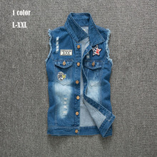 New arrived Denim Vest Men Vests Brand Coats Mens Patchwork Men's Cowboy Waistcoat Brand Man Sleeveless Jacket Clothing L-XXL60(China (Mainland))