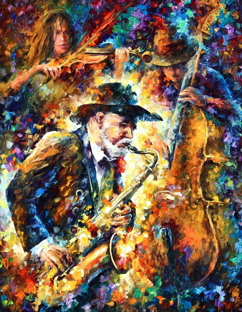 Cheap! 100% High Quality knife painting music man Wall Decor Painting On Canvas Wall Art(China (Mainland))