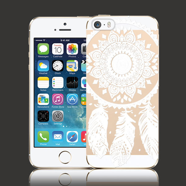 New Arrival Luxury PC Clear Phone Cases Vintage White Floral Paisley Flower Cell Mobile Phone Shell Case Cover for iPhone 5 5s(China (Mainland))