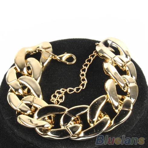 3 Color Fashion Women's Golden/Black/Silver Curb Chain Link Plastic Bracelet 02XM 4NVS(China (Mainland))