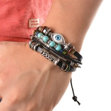 Buy Turkish Vintage Bracelet men Multilayer Leather Bracelet Beads Feather Evil Eye Charm Wrap Bracelets Men Punk Jewelry for $1.48 in AliExpress store