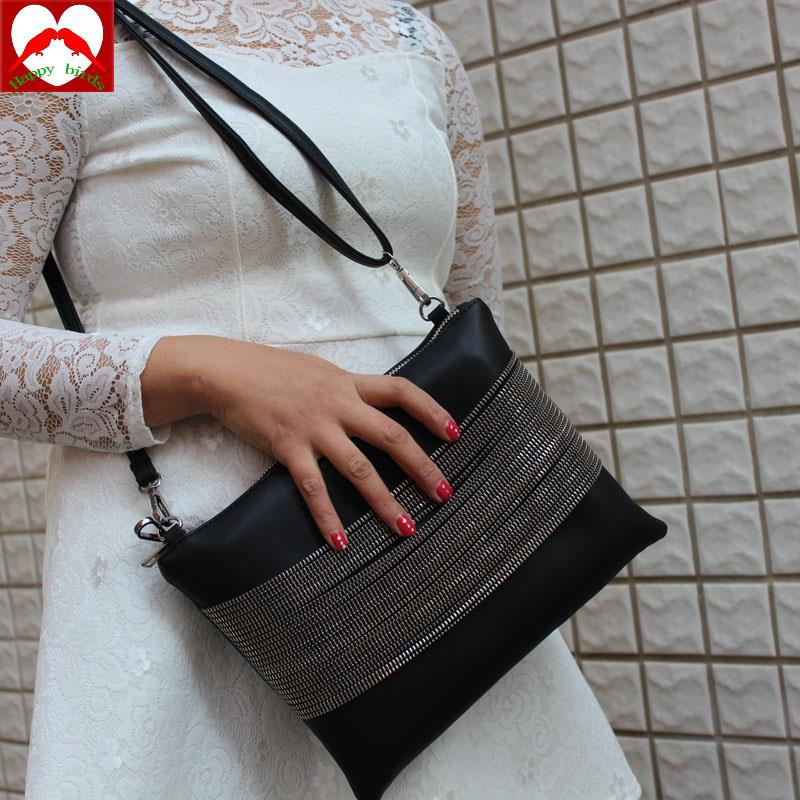 Happy Birds 2016 Quality 100% Evening Clutch Bag Women Handbag Black Leather Chain shoulder bag klatch female purses and handbag<br><br>Aliexpress