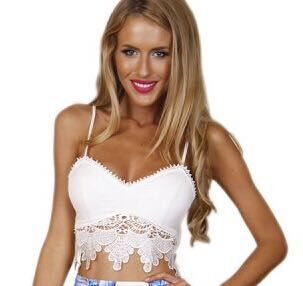 New crop renda summer cropped sexy spaghetti strap short tank lace black camis for women floral white cami crochet crop top(China (Mainland))