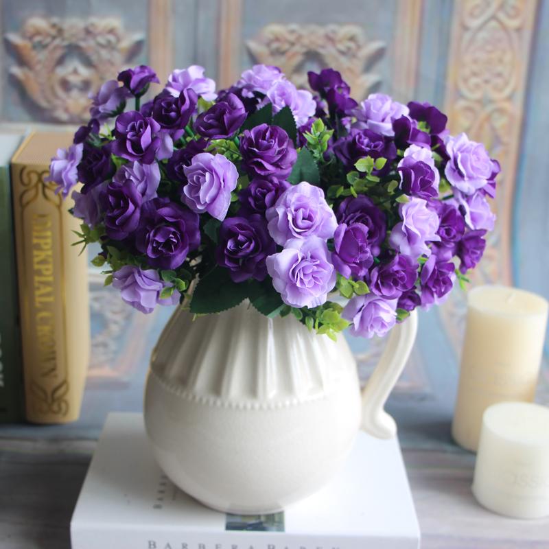 Best Bunch 15 Heads Fake Silk Flowers Bouquet Artificial Rose Bridal ...