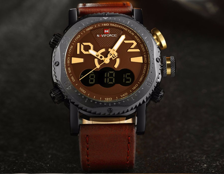 Мужчины спортивные часы NAVIFORCE бренд двойной дисплей мужские часы LED цифровой аналоговый Электронные кварцевые часы 30 М водонепроницаемый мужской часы