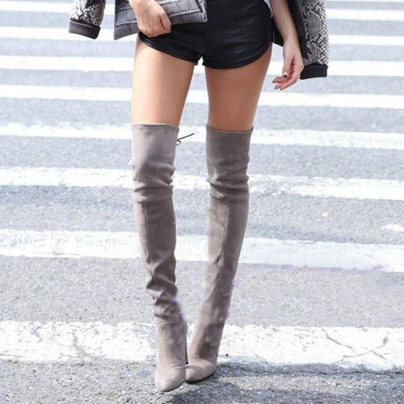 Hot autumn and winter Female winter boots suede thigh high boots for women over the knee boots knee high boots botas mujer(China (Mainland))