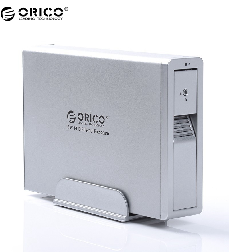 ORICO External HDD Enclosure 3.5 SATA with 12V2.5A Power Adapter-Silver (7618US3-SV)