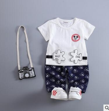 2016 Summer Children's Clothing Sets baby boy sports suit sets Despicable Me Minions cotton cartoon T-shirt+casual shorts(China (Mainland))