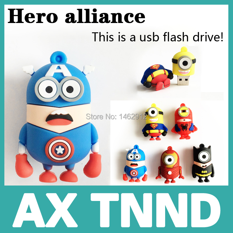 usb flash drive new hot pendrive Captain America super hero minions pen drive 32GB 16GB 8GB 4GB 2GB cartoon usb 2.0 Pen drive(China (Mainland))