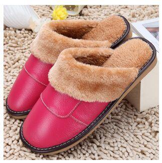 Гаджет  2015 New Genuine Leather Slippers Home  Women And Men Plush Warm Indoor Slip Shoes Men  Fur High Quality  None Обувь