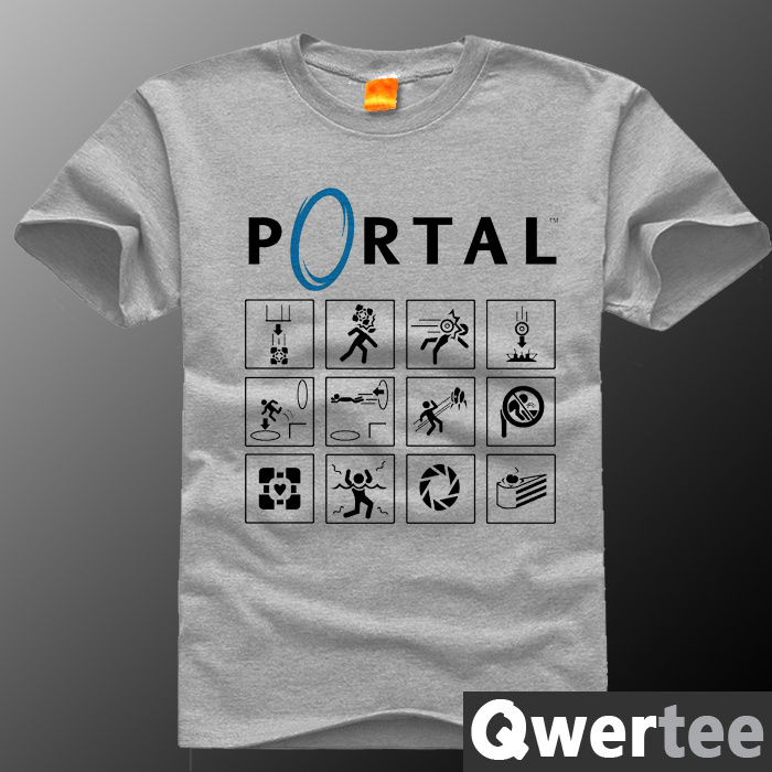 PORTAL 2 T shirt men 2016 short sleeve Game t-shirt summer camisa masculina anime fitness tees clothes plus size S-4XL(China (Mainland))
