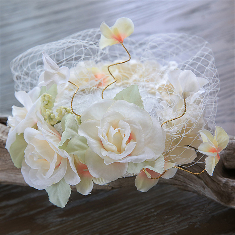 Lace Fascinator Veil Hat Hair Clip Flowers Headpiece Wedding Hats And Fascinators For Women Chapeu Hair Accessories WIGO0813(China (Mainland))