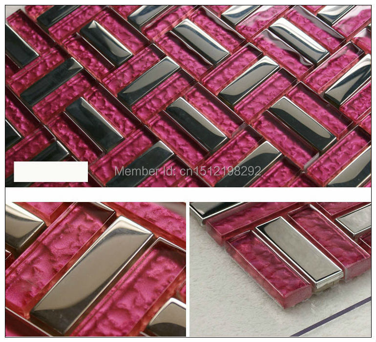 High Quality Free fast shipping Stainless steel mirror glass Mosaic Building materials ceramic tile TV setting wall brick(China (Mainland))