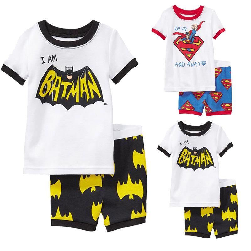 Kids Baby Boy Girls Spiderman Superman Bat T-Shirt Tops + Pants 2Pcs Sets Outfit(China (Mainland))