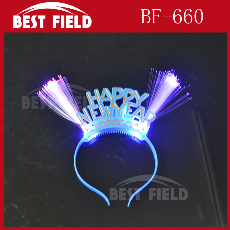 Free shipping 12pcs/lot LED glow fiber red blue double head flashing headband Happy New Year,party bar Christmas gift supplier(China (Mainland))