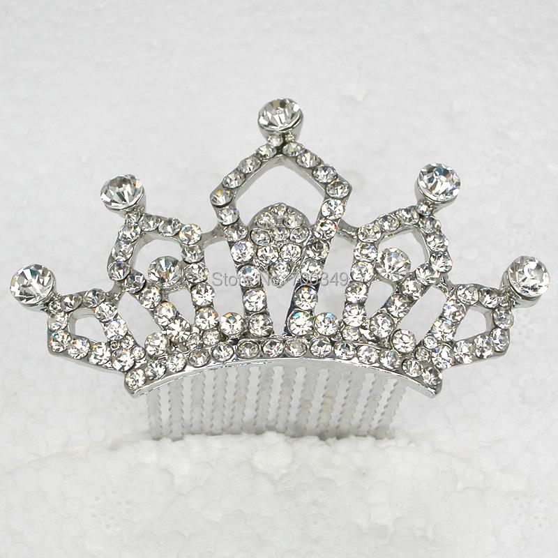 Elegant Crown Tiara 6pcs/Lot Clear Crystal Rhinestone Hair comb,Bridal Wedding party prom hair Jewelry Accessories L350(China (Mainland))