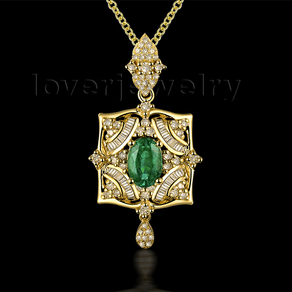 Brilliant Design! Diamond  And  Emerald Oval 5x7mm Pendant 18Kt Yellow Gold WP067<br><br>Aliexpress