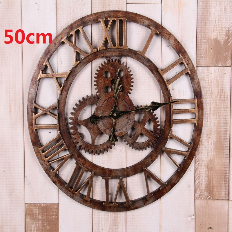 "2016 New Vintage gear wall clock 20"" home decor watch wandklok Retro wall clocks design kitchen pared relojes decoracion wanduhr(China (Mainland))"