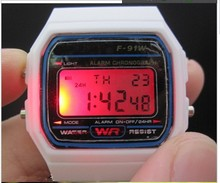 Drop shipping 1pcs F-91W watch Electronic watches LED watch ultra-thin wrist watch brand logo kids watch party gift