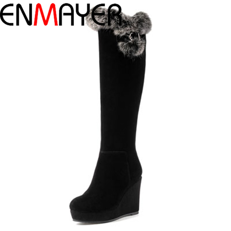 ENMAYER  New 2015  Knee High Boots Wedges Shoes for Women Knight boots Vintage Motorcycle Boots  Winter  Snow Boots