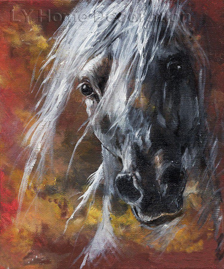 abstract oil painting Painter Handmade Beautiful High Quality Abstract Horse Portrait Oil Painting On Canvas Art wall decor(China (Mainland))