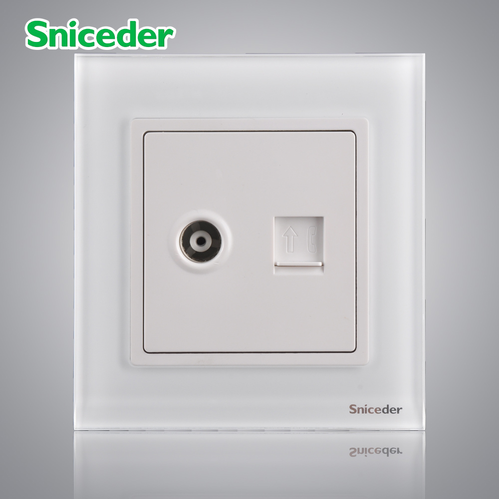 Scinder glass panel elegant white TEL phone socket closed-circuit cable TV outlet<br><br>Aliexpress