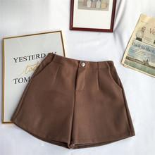 Winter Woolen Shorts Frauen Hohe Taille Weibliche Lose Dicke Warme Elastische Taille Stiefel Shorts Breite Bein A-line Shorts Koreanische Mode(China)