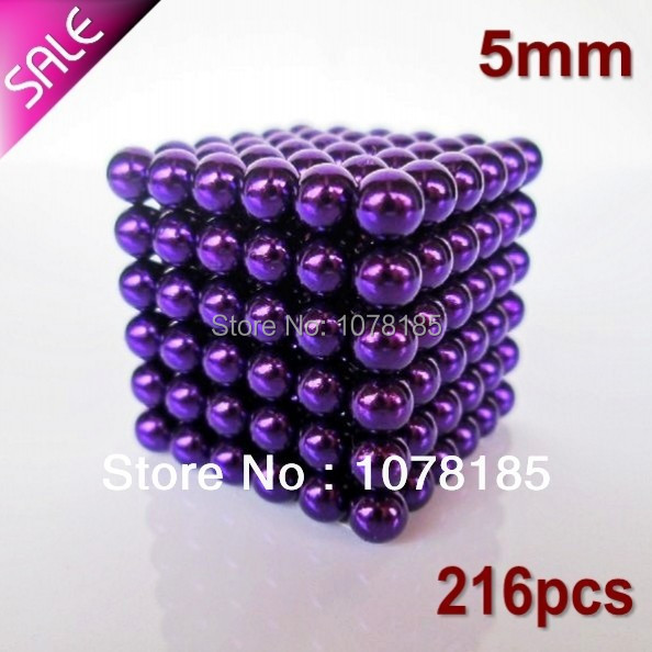 New Arrival 216+4pcs 5mm buckyballs magnetic balls neocube cybercube magcube Packed at round tin box purple color(China (Mainland))