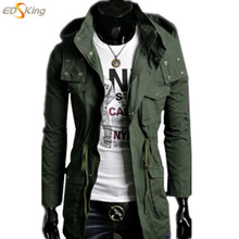 2015 spring mens Trench Coat High Quality Solid Army Green with a hood clothing windbreaker Man Pea Coat Moletons MascMulino(China (Mainland))