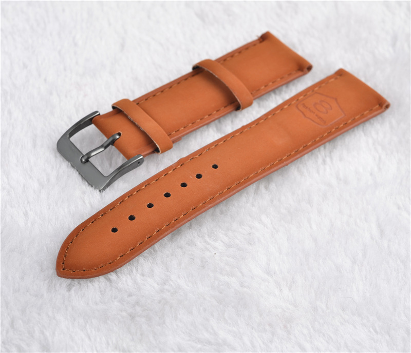 2016 New arrived 20mm Leather watchband black and brown band fashion popular printed 8 clock band for watch high quality band(China (Mainland))
