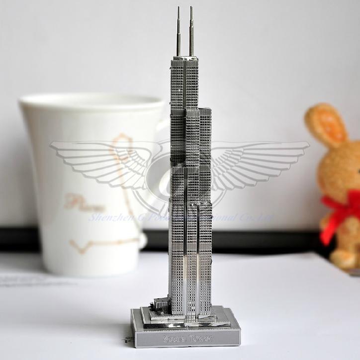 Sears tower genuine d zoyo puzzle diy nano metal
